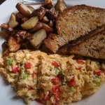 Migas with roasties and toast