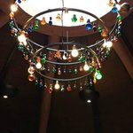 A light in the main restaurant (made from pretty, multicoloured glass bottle stoppers).