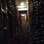 One aisle in the extensive wine cellar - hope they never get a flood in here!