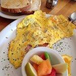 Omelette and fresh fruit