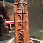 A leather model of the local church tower made around 1850 by an apprentice saddler. Incredible