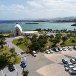 Room view parking lot (Ocean side) with the hotels Chapel