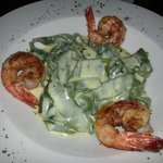 Spinach Fettuccine in Alfredo's Sauce and Shrimp