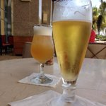 Draft Beer and Amaretto Sour , on a sunny day at the Hyatt