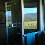 Our free-standing shower overlooking the vineyard
