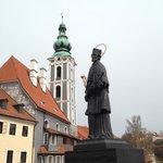 Statue of St. John Nepomuk, a nationally revered saint in the Czech Republic