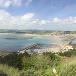 Panoramic view from the top of the castle down to the island harbour.