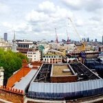 panoramic view of London landmarks from room
