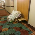 Disgusting trash in hallway for hours