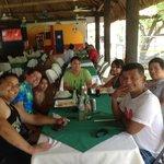 Having lunch under the big cabana!