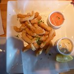 """The """"Crispy Calamari Strips"""" - nothing was crispy but very soft"""