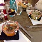Coquilles st Jacques snackées, purée de patate douce et poulet aux légumes