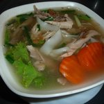 Big noodle soup with chicken