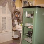 Antique pieces used for storage in our bathroom.