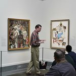 Explaining a painting to museum visitors, Oct 2013