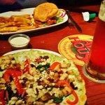 Greek Chicken Pizza and Buffalo Chicken Sandwich