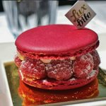 Rose water macaron with raspberries