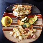 Grilled halibut dinner platter
