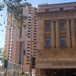 Hotel on left & Railway station right next door