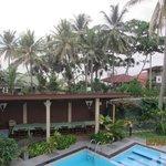 Вид из отеля. За пальмами океан