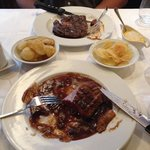 Rib steak and duck breast. Rib steak too thin and too much sauce for the duck breast.