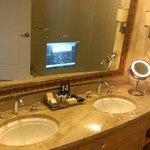 """Double sink with vanity. """"request vanity if not in room'"""