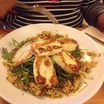 halloumi salad with pearl couscous
