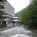After heavy rain, the Cerna river outside the Roman hotel
