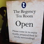 At the entrance to the Regency Tea Room.