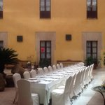 The Arab-style internal patio, set for a wedding