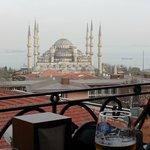 View of Blue Mosque from the balcony of the Nena restaurant by day