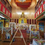 Inside the Gompa, where the meditation course is conducted.