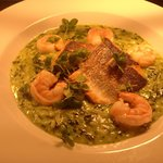 Pan fried seabass fillet, chilli and lime prawns and wild garlic risotto