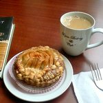 my delicious apple almond tart and coffee
