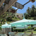 Umbrellas around the lower pool courtyard