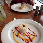 White chocolate and raspberry mousse and the cappuccino cake