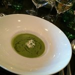 Broccoli and goat cheese soup