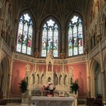 Interior stained glass and main altar