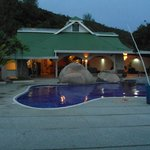 Reception and pool at dusk