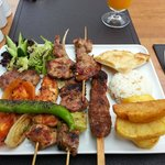 Turquish mixed grill. Very good meat. And the eyes also eat!