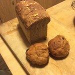 Multigrain bread and cranberry rolls