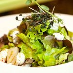 Summer lettuce and vegetable salad with goat cheese.