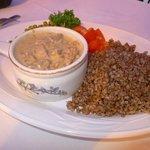 Beef Stroganoff with buckwheat kasha