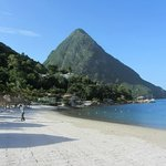Looking along the beach to the Gros Piton