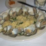 Clams in white wine and garlic sauce over Linguine