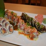 May Special (Wasabi crunchy, Volcano, Rocky Mtn roll)