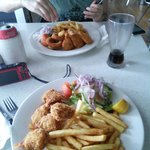 Seafood basket e crumbed prawns