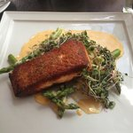 Salmon with coconut curry sauce, asparagus and apples. Delicious!