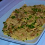 Mushrooms sote with mustard souce