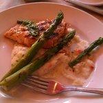 Salmon with cilantro pesto half gone. Yum